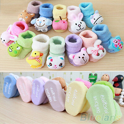 0-6 Months Newborn Baby Boy Girl Cute Animal Cartoon Slippers Boots Socks Eyeful
