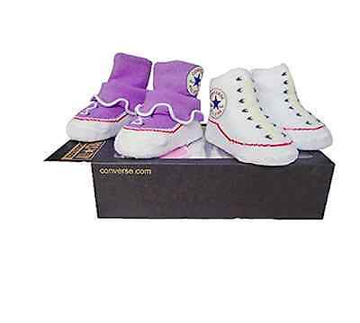 Converse Baby All Star Knit Frill Booties 2 Pack Lilac And White