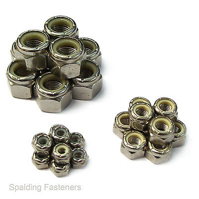"60 Assorted UNF A2 Stainless Steel 1/4"" 5/16"" & 3/8"" Nyloc Nuts"
