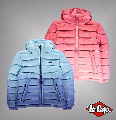 Junior Girls Designer Lee Cooper Warm Padded Gradient Jacket Top Size Age 7-13