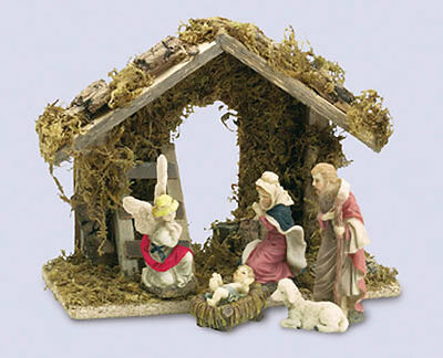 Traditional Christmas Nativity Set with 5 Figures & Wooden Shed 8965