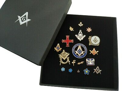 'ULTIMATE' MASONIC PIN BADGE SET ( x25 ) SQUARE & COMPASS / MENS GIFT + GIFT BOX