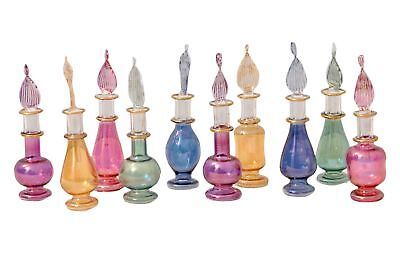 Egyptian perfume bottles Set of 10 hand Blown Decorative Pyrex Glass Vials He...