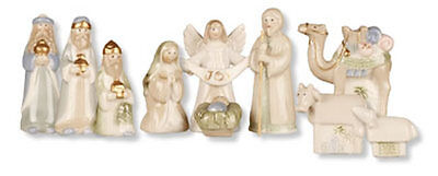 Set of 10 Porcelain Christmas Nativity Figurines with Gold Highlights 89927