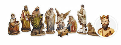 "Set of 11 Traditional Christmas Hand Painted Nativity 4 1/2"" Figurines 89308"
