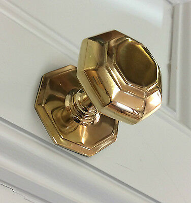 Solid Brass Octagonal Centre Door Pull Knob Georgian Victorian Antique Handle
