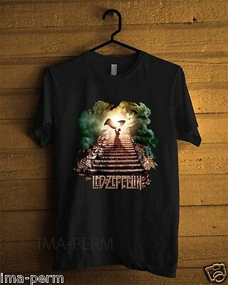 Led Zeppelin Stairway To Heaven Rock Band Black T-shirt for Men Size S-2XL