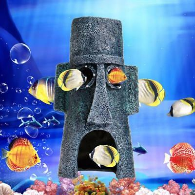 Moai Shape Maison Fish Tank Aquarium Landscaping Underwater Ornement Décor