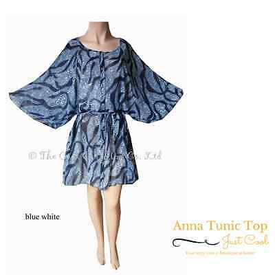 Anna - Blue on White Kaftan UK Size 20 Ladies Top! Very Cool for on The Beach