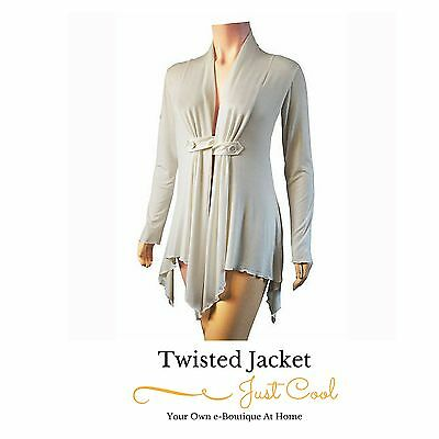 Ladies Twisted Cream Sexy Jacket Top Evenings Out Parties Night Club Size 24