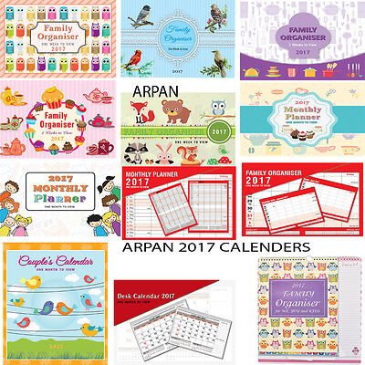 2017 family organisers /planner one Month to View /WTV appointments new designs