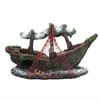 Wreck Bateau Fishnet Fish Tank Aquarium Landscaping Underwater Ornement