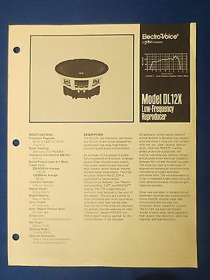 Electro Voice Dl12X Woofer Sales Brochure Original The Real Thing