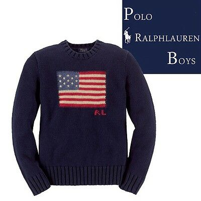 New with Tag  POLO RALPH LAUREN BOYS USA FLAG SWEATER NAVY 2T,3T,4T,5T,6T,7T