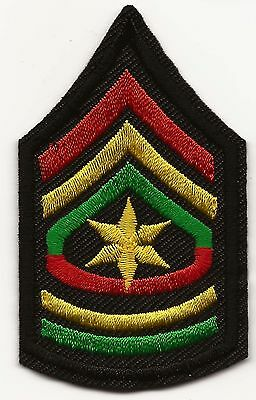 Rasta Army Sergeant Major Embroidered Patch Iron-on Good Luck Magic Charm