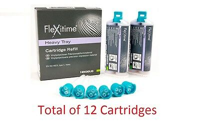 12X Cartridges 50ml Flexitime VPS Heavy Tray Refill Impression Material FDA New