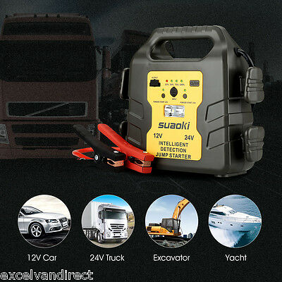 Portable Car Battery Power Booster Jump Start Starter Rescue Pack 1000A 12V 24V