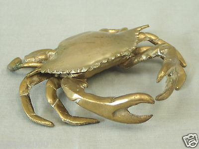 "Vintage Brass Blue Crab Ashtray Crustacean Figurine Sculpture 6"" w Mid Century"