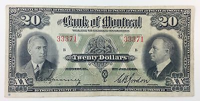 1938 Bank of Montreal 20 Dollar Circulated Canadian Bank Note Company