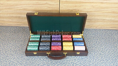 500 EPT Ceramic Poker Chips - with Wooden Case, Cards, Button and Dice