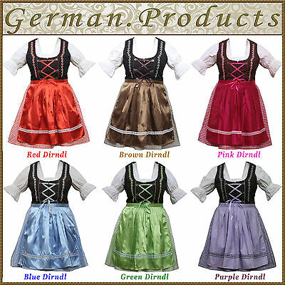 3 Piece Women Dirndl Dress German Bavarian Trachten Oktoberfest Ladies Costume