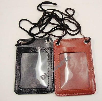 NEW ID Card Holder Badge Card Bus Pass Pouch Leather W/ Neck Strap
