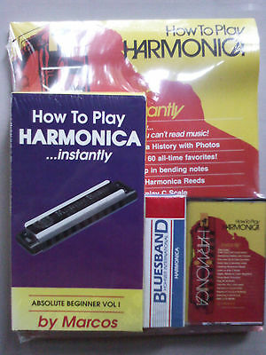 Rare How To Play Harmonica Instantly by Marcos. Book VHS Tape & Harmonica. NIB
