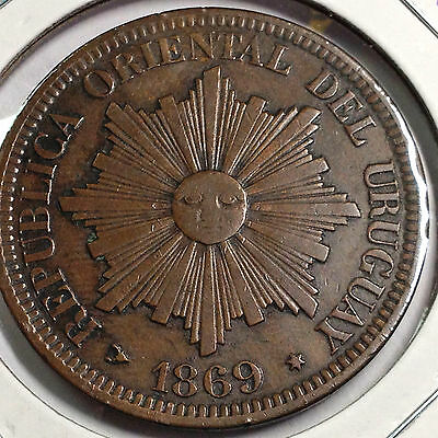 1869-H Uruguay 4 Centesimos High Grade Large  Coin