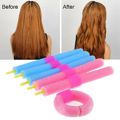 12 X Soft Foam Curler Makers Bendy Twist Curls Tool DIY Styling Hair Rollers MAD