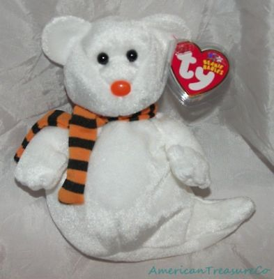 "NEW 2003 TY Beanie Babies Plush White 8"" QUIVERS The SPOOKY GHOST BEAR Halloween"