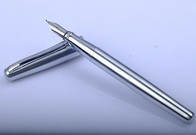 Duke 209 Stainless Steel Calligraphy Fountain Pen Silver Clip