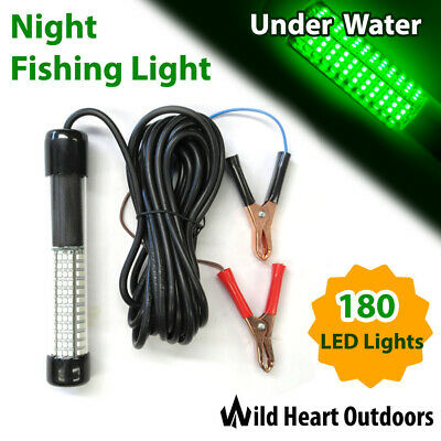 GREEN LED Underwater Fishing Light 11W 12-24V 900 lumens Squid Prawn Fish