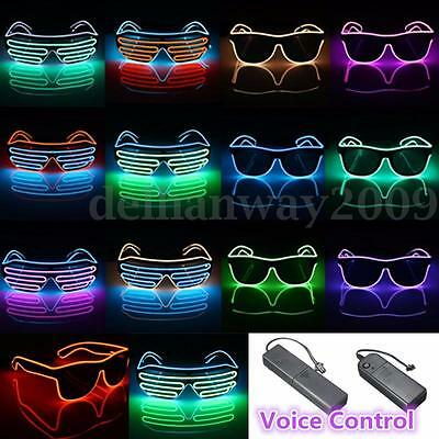 NEW El Wire Neon LED Light Up Shutter Shaped Glasses Rave Party Battery Operated