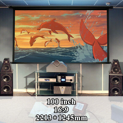"100"" Inch 16:9 Projector Foldable HD Screen Front Projection Home Movie Theater"