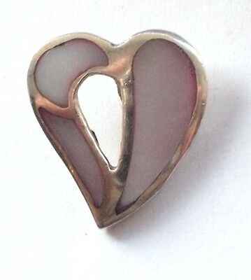 Solid Ornate 925 Fine Sterling Holed Heart Love Pendant With Mother Of Pearl