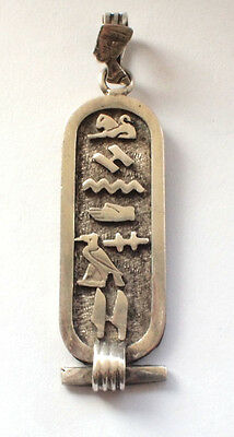 Solid Ornate 925 Fine Sterling Egyptian Hieroglyphs Pendant Pharaoh