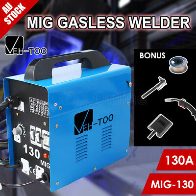 VEH-TOO 130Amp MIG Gasless Welder Welding Machine Portable Tool 15A Plug MIG-130