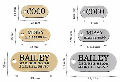 Dog ID Tag Personalised Oval Pet Cat Name Custom Engraved Key Chain Brass Steel