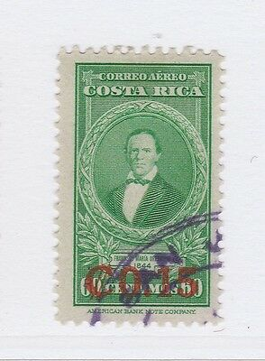 A2P50 COSTA RICA AIR POST STAMP 1947 SURCH 15c ON 60c USED