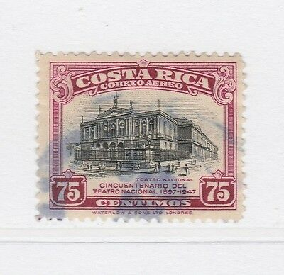 A2P51 COSTA RICA AIR POST STAMP 1948 75c USED