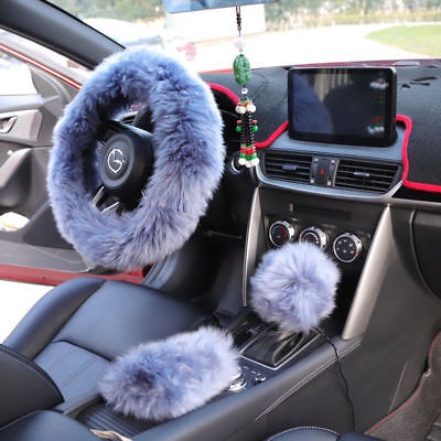Universal Winter Soft Warm Faux Wool Plush Steering Wheel Cover Protector Grey
