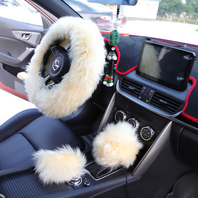 Universal Winter Soft Warm Faux Wool Plush Steering Wheel Cover Protector White