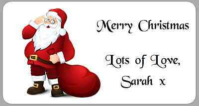 24 x Personalised Stickers Father Christmas Santa with Sack Address Labels