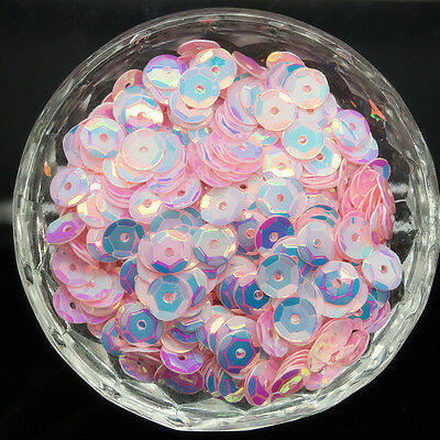 NEW 6mm 500Pcs Ovals Round Loose Sequins Paillettes Sewing Wedding Craft PVC01