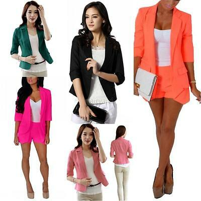 Women Style Solid Slim Casual Suit Blazer Coat Jacket Outerwear Candy Colors