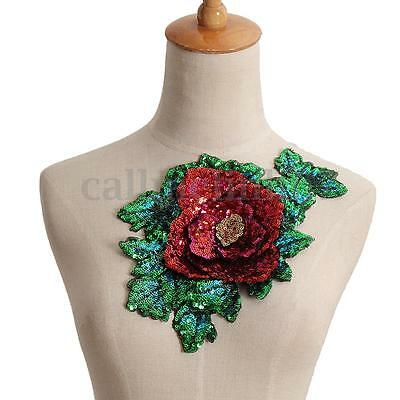 Rose Flower Badge Embroidered Dress Collar Iron on Sew Patch Applique Applique