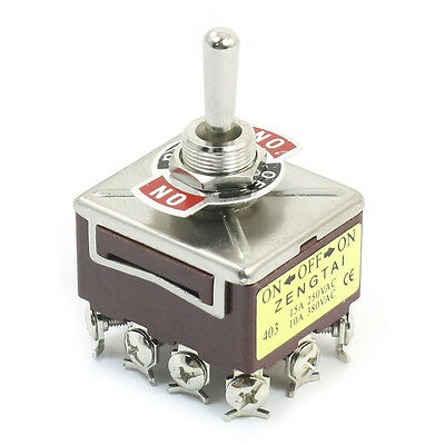 AC 380V 10A ON/OFF/ON 3 Positions 12 Pin Latching Toggle Switch 4PDT CT
