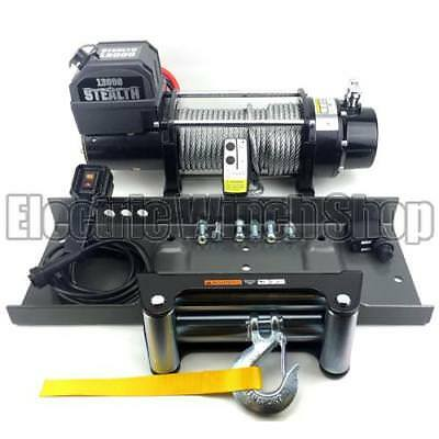 Stealth 12v 13000LB Recovery Electric Winch, Mount Plate & Wireless Control