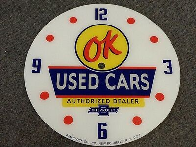 "*new*14.25"" Ok Used Cars General Motors Gm Chevy Oil Rd Glass Face Pam Clock"