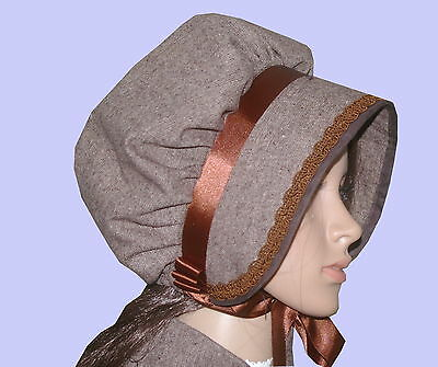 Ladies Victorian American Civil War Donegal Tweed BONNET costume fancy dress